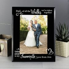 Personalised 'Of All the Walks...' Wedding 5x7 Black Glass Photo Frame