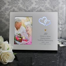 Personalised Gold Hearts 4x6 Light Up Frame UK [United Kingdom]