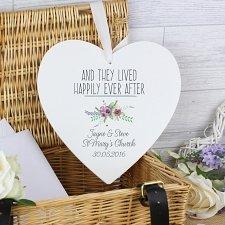 Personalised Floral Bouquet Large Wooden Heart Decoration UK [United Kingdom]