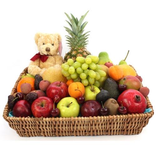 Premium Fruit Basket With Bear delivery to UK [United Kingdom]