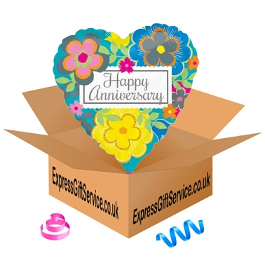 Bright Floral Anniversary Foil Balloon Delivery to UK