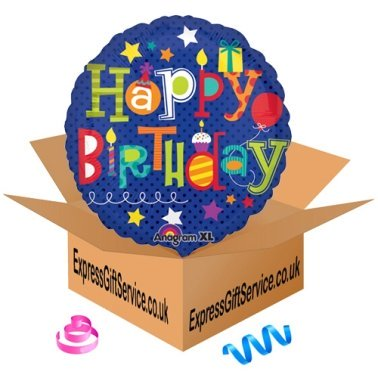 Happy Birthday Fun Type Foil Balloon Delivery to UK