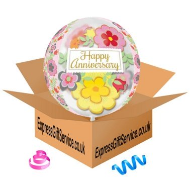 Orbz Flowery Anniversary Foil Balloon Delivery to UK