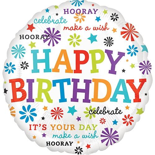 Bursts & Stars Birthday Standard Foil Balloon Delivery UK