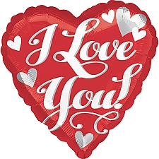I Love You White Script Standard Foil Balloon