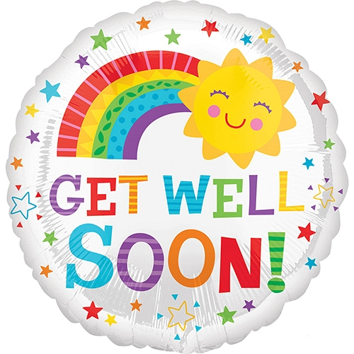 Get Well Soon Happy Sun Standard Foil Balloon delivery UK