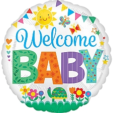 Welcome Baby Cute Icons Standard HX Foil Balloon delivery to UK