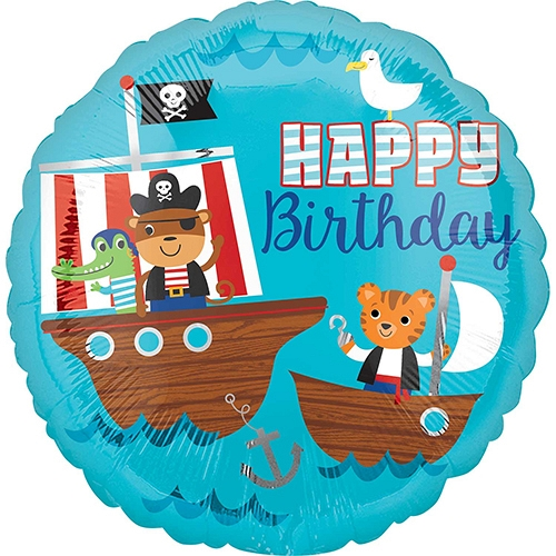 Pirate Ship Happy Birthday Standard HX Foil Balloon delivery to UK