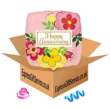 Flowery Anniversary Standard Foil Balloon Delivery to UK
