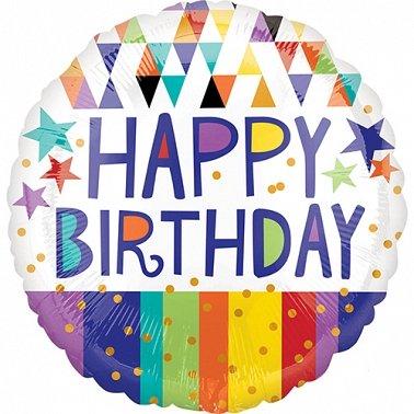 Happy Birthday Triangles Stripes & Stars Balloon Delivery UK