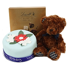 Birthday Butterfly Flowers Cake With Teddy And Lindt delivery to UK [United Kingdom]