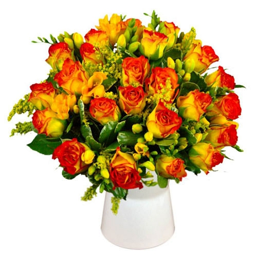 Sunset Roses and Freesias delivery to UK