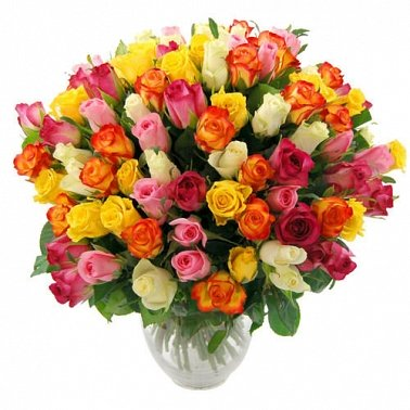 100 Rainbow Roses delivery to UK