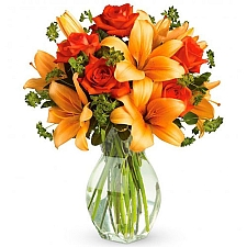 Fiery Lily and Rose Bouquet delivery to United States