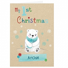 Personalised Polar Bear My 1st Christmas Card delivery to UK [United Kingdom]