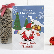 Personalised Tartan Santa Card delivery to UK [United Kingdom]