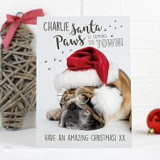 Personalised Rachael Hale Santa Paws Christmas Bulldog Card delivery to UK [United Kingdom]