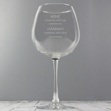 Personalised 'Wine Improves with Age' Bottle of Wine Glass delivery to UK [United Kingdom]
