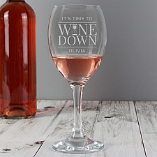 Personalised 'It's Time to Wine Down' Wine Glass delivery to UK [United Kingdom]