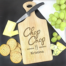 Personalised 'Chop Chop' Large Paddle Chopping Board Delivery to UK