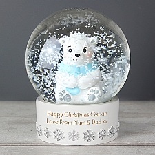 Personalised Polar Bear Snow Globe delivery to UK [United Kingdom]