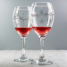 Personalised Snowflake Wine Glass delivery to UK [United Kingdom]