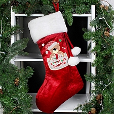 Personalised Pocket Teddy My 1st Christmas Luxury Stocking delivery to UK [United Kingdom]
