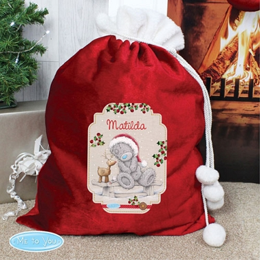 Personalised Me to You Reindeer Luxury Pom Pom Sack