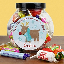 Personalised Felt Stitch Reindeer Sweet Jar delivery to UK [United Kingdom]