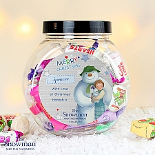 Personalised The Snowman and the Snowdog Blue Sweet Jar delivery to UK [United Kingdom]