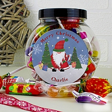 Personalised Tartan Santa Sweet Jar delivery to UK [United Kingdom]
