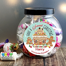 Personalised Gingerbread House Sweet Jar delivery to UK [United Kingdom]