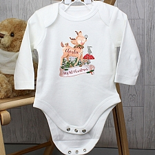 Personalised Festive Fawn 9-12 Months Long Sleeved Baby Vest delivery to UK [United Kingdom]