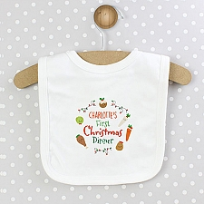 Personalised First Christmas Dinner Bib to UK