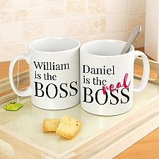 Personalised Real Boss Mug Set