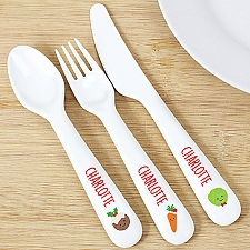 Personalised First Christmas Dinner 3 Piece Plastic Cutlery Set