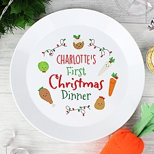 Personalised First Christmas Dinner Plastic Plate to UK