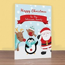 Personalised Felt Stitch Friends Christmas Card delivery to UK [United Kingdom]
