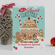 Personalised Gingerbread House Card delivery to UK [United Kingdom]