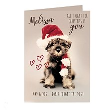Personalised Rachael Hale 'All I Want For Christmas' Puppy Card delivery to UK [United Kingdom]