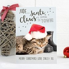 Personalised Rachael Hale Santa Claws Christmas Cat Card delivery to UK [United Kingdom]
