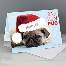 Personalised Rachael Hale Christmas Bah Hum Pug Card delivery to UK [United Kingdom]