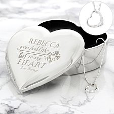 Personalised Key to My Heart Trinket Box & Necklace Set delivery to UK [United Kingdom]