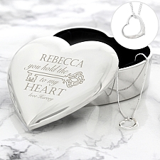 Personalised Key to My Heart Trinket Box and Necklace Set