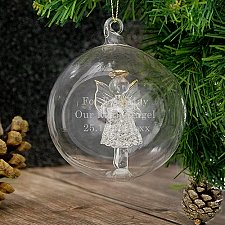 Personalised Glass Christmas Angel Bauble delivery to UK [United Kingdom]