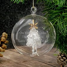 Personalised Glass Christmas Tree Bauble delivery to UK [United Kingdom]