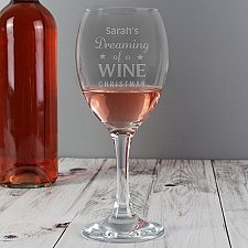 Personalised Dreaming of a Wine Christmas... Wine Glass delivery to UK [United Kingdom]