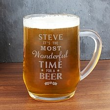 Personalised Wonderful Time For A Beer... Glass Tankard delivery to UK [United Kingdom]