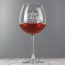Personalised Keep Calm Bottle of Wine Glass delivery to UK [United Kingdom]