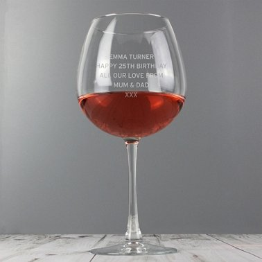 Personalised Bold Statement Bottle of Wine Glass delivery to UK [United Kingdom]
